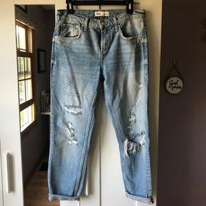 Zara Premium distressed boyfriend jeans